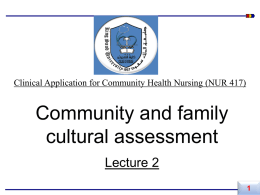 (2) Community and family cultural assessment - Home