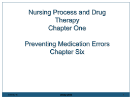 Nursing Process and Drug Therapy Chapter One