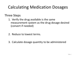 Calculating Medication Dosages