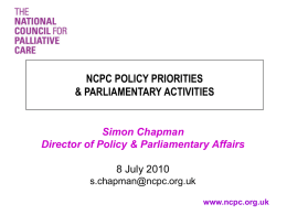 ncpc policy priorities & parliamentary activities