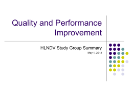 Quality Improvement - Healthcare Leadership Network