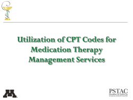 Applying MTMS CPT Codes - Pharmacist Services Technical