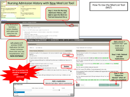 Nursing Admission History with New Med List Tool (MLT)