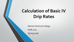 Calculation of Basic IV Drip Rates