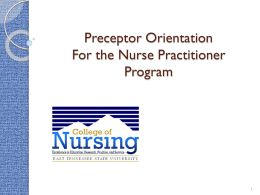 MSN Nurse Practitioner Preceptor Orientation