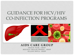 GUIDANCE FOR HCV/HIV Co-infection Programs