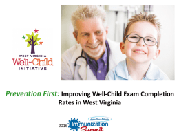 Prevention First: Improving Well Child Exam Completion Rates in WV