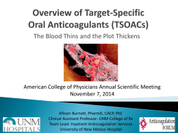 Overview of Target-Specific Oral Anticoagulants