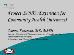 UNM Project ECHO Pain - Texas Primary Care and Health Home