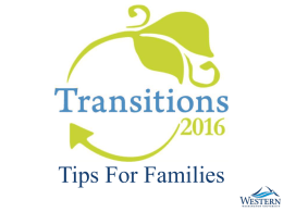 Tips For Families - New Student Services / Family Outreach
