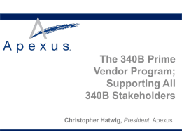 The 340B Prime Vendor Program - American Hospital Association