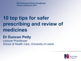 10 top tips for safer prescribing and review of medicines