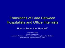 Transitions of Care Between Hospitalists and Office Internists