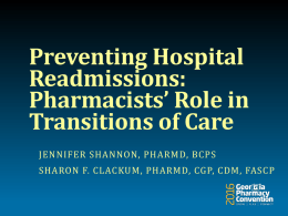 Pharmacists Role in Prevention of Hospital Readmissions