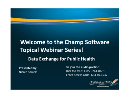 Data Exchange for Public Health Presented by