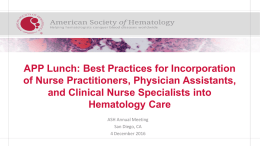 Disclosures for - The American Society of Hematology