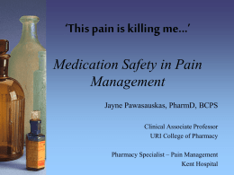 *This pain is killing me...* Medication Safety in Pain Management