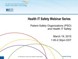 Slides - Health IT Safety Center Roadmap