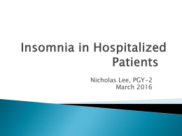 Insomnia in Hospitalized Patients
