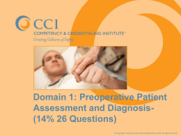 Chapter (Domain) 1-Preoperative Patient Assessment and