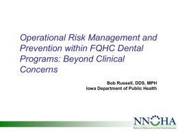 Operational Risk Management and Prevention in FQHC Dental