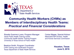 Leadership Briefing Outline - Texas Primary Care and Health Home