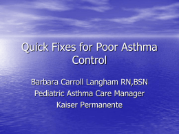 Quick Fixes for Poor Asthma Control