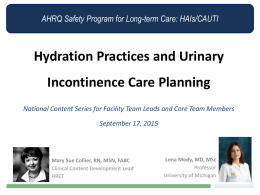 Hydration Practices and Urinary Incontinence