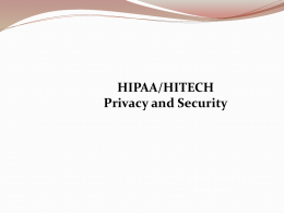 Information Privacy and Security - Center for Correctional Health