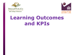 Presentation from Work-Shop About Learning outcomes and KPI`s
