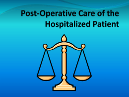 Post-Operative Care II