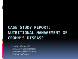 Case Study Report: Nutritional Management of Crohn*s Disease