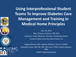 Using Interprofessional Student Teams To Improve Diabetes Care