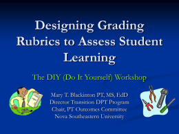 Designing Grading Rubrics to Assess Student Learning: The DIY