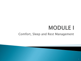 Module I Comfort, Sleep and Rest, student copy