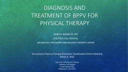 BPPV for physical therapy - The Neurology, Psychiatry and Balance