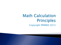 Math Calculation Principles