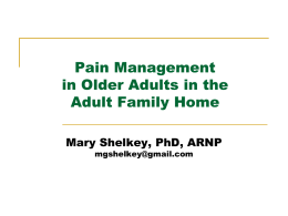 Pain Management in Older Adults in Adult Family Homes