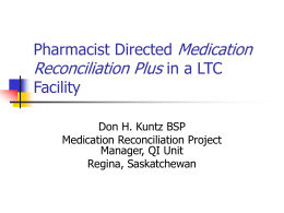 Medication Reconciliation in a LTC Facility