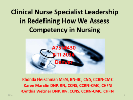 Competency Assessment in Nursing: A New Paradigm