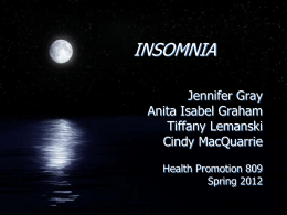 Insomnia - Tiffany Lemanski Introduction