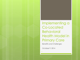 F) Implementing a Co-Located Behavioral Health Model in Primary