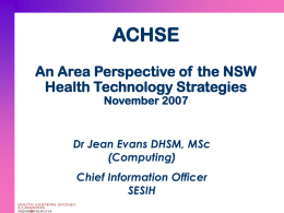 An Area Perspective of the NSW Health Technologies