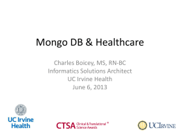 Part1 - OC MUG - Charles Boicey - Mongo and Healthcare Meetup 20