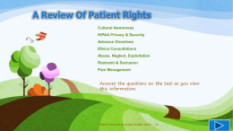 Our Patients Have The Right To File A Complaint! Patient