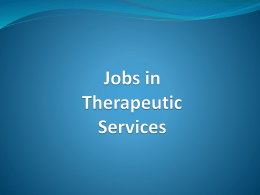 Jobs in Therapeutic Services
