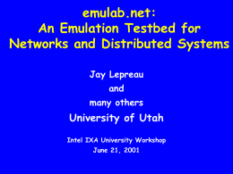 emulab.net: A Network Emulation and Distributed Systems Testbed