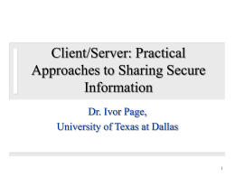 Client/Server - The University of Texas at Dallas