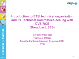Marcello Pagnozzi - Introduction to ETSI technical