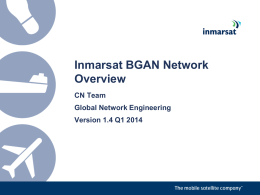 Inmarsat BGAN Network Overview